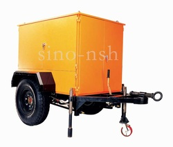 transformer oil filter system with single axle trailer